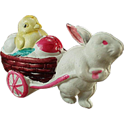 Vintage, Celluloid Easter Toy - Rabbit and Baby Chick
