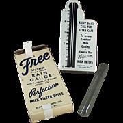 Vintage Rain Gauge Advertising Perfection Milk Filters