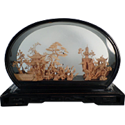 Beautiful, Vintage, Oriental Cork Carving in Original Lacquered Frame