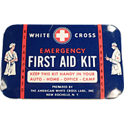 SALE PENDING Vintage, White Cross First Aid Kit Tin with Doctor & Nurse Graphics