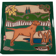 Old, Hand Painted, Ceramic Art Tile - Hunting Dog, Vivid Colors