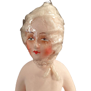 Vintage, Composition/Papier Mache Half Doll - Curled White Hair Wig, German
