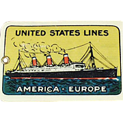 Vintage, Celluloid Luggage Tag - United States Lines - ca 1920's
