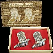 Vintage Salt & Pepper Set - Western Boots - Roy Rogers Museum Souvenir