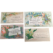 Vintage Trade Cards - Four Different Businesses in Newburgh, New York