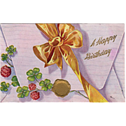 Vintage, Birthday Postcard - Envelope with Bow & Shamrocks