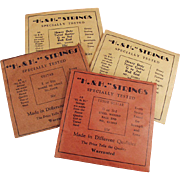Four Packages of Vintage Guitar Strings - H & H
