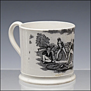 Antique Staffordshire Child's Cup / Mug with Hoop Trundling Decoration - Pearlware - Transferw