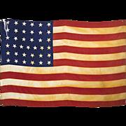 SOLD 37 Star American Flag - 1867 - 1877 - Americana - Framed Silk Parade Flag