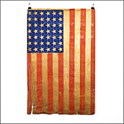 SOLD 42 Star American Flag - 1889 - 1890 - Americana - Cotton Parade Flag with Rare Unofficial