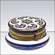 SOLD Antique Cobalt Blue Enameled Dresser Box  - Patch Box - Powder Jar - Casket