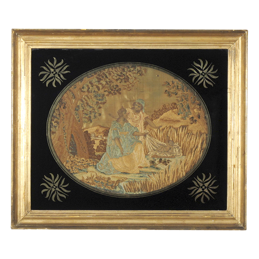 Georgian Silk Work Embroidery with Decorative Eglomise Mat and Frame - Moses in the Bulrushes - Georgian Silkwork - Biblical Theme - Religious