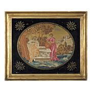 Georgian Silk Work Embroidery with Decorative Eglomise Mat with Stars and Original Frame - Jesus at the Well - Georgian Silkwork - Biblical Theme - Religious