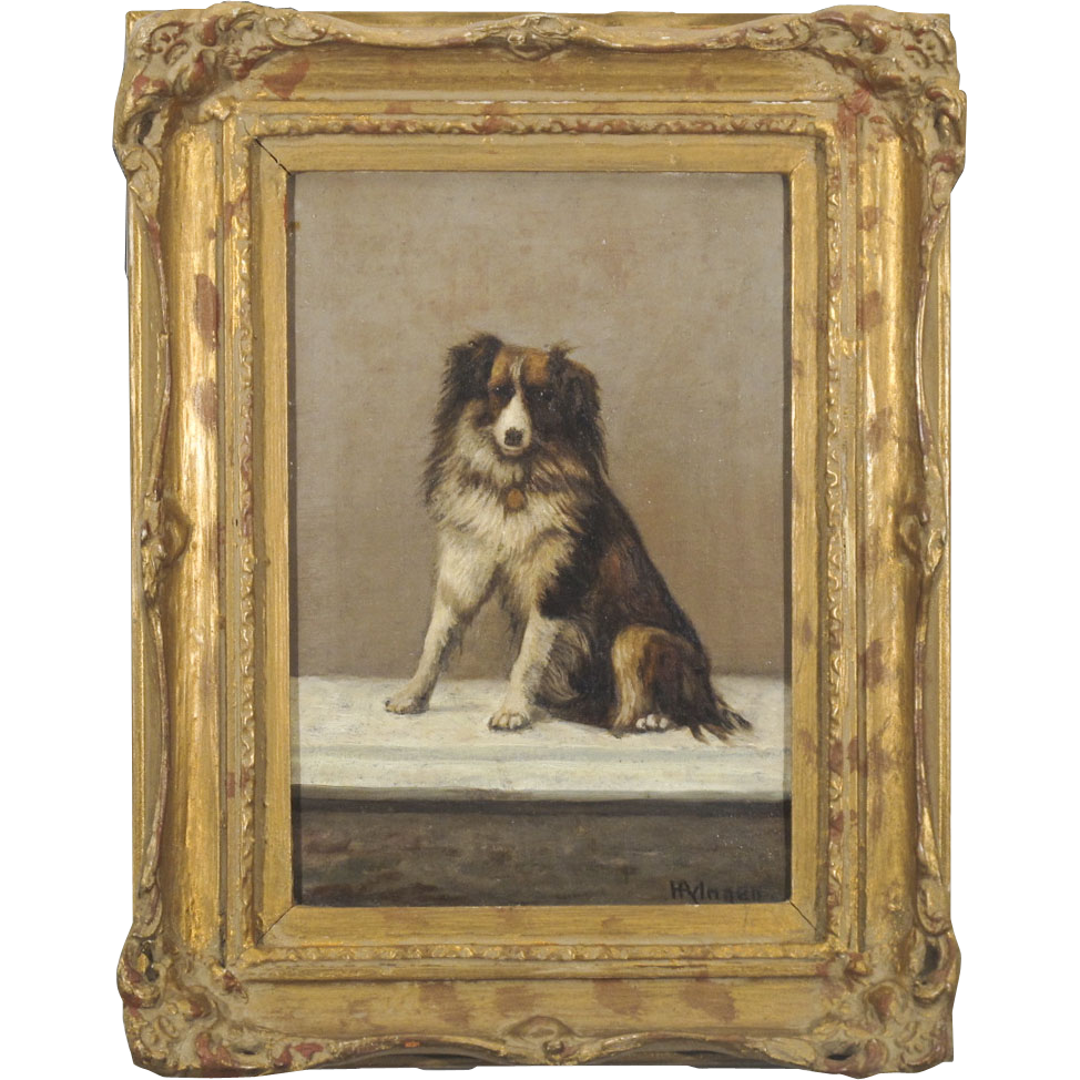Portrait of a Dog - Painting - Signed Oil on Canvas