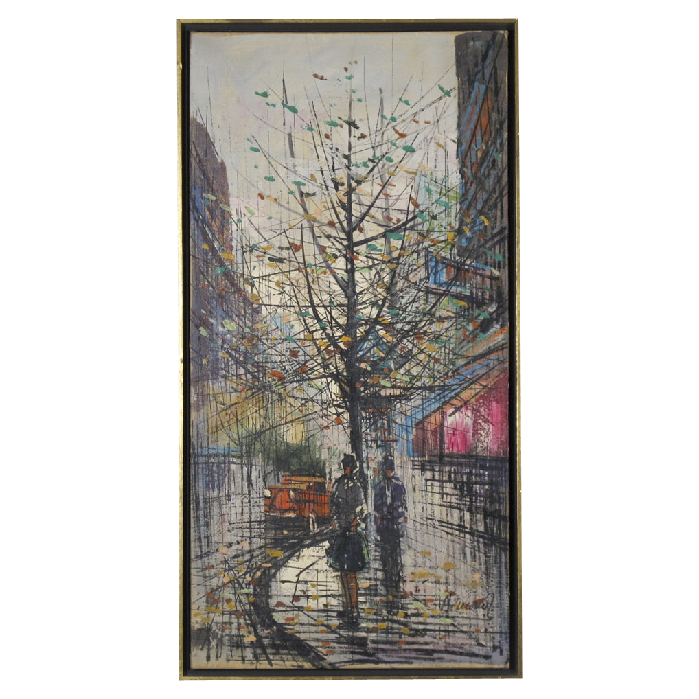 Mid Century Modern Painting - Autumn in the City - Signed Oil on Canvas