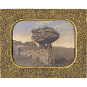 Fine 19th C American Folk Art Painting w/ Sandpaper Frame - Mushroom Rock in Kansas - American