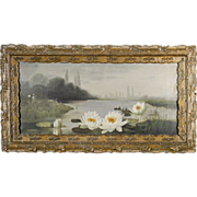 19th C American Victorian Painting of Water Lilies - Original Antique Frame