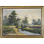 Signed Landscape Painting of a Stream and Bridge - Oil on Canvas