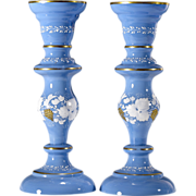 Antique Victorian Opaline Glass Candlesticks or Vases - Blue - Hand Painted Grape Decoration w