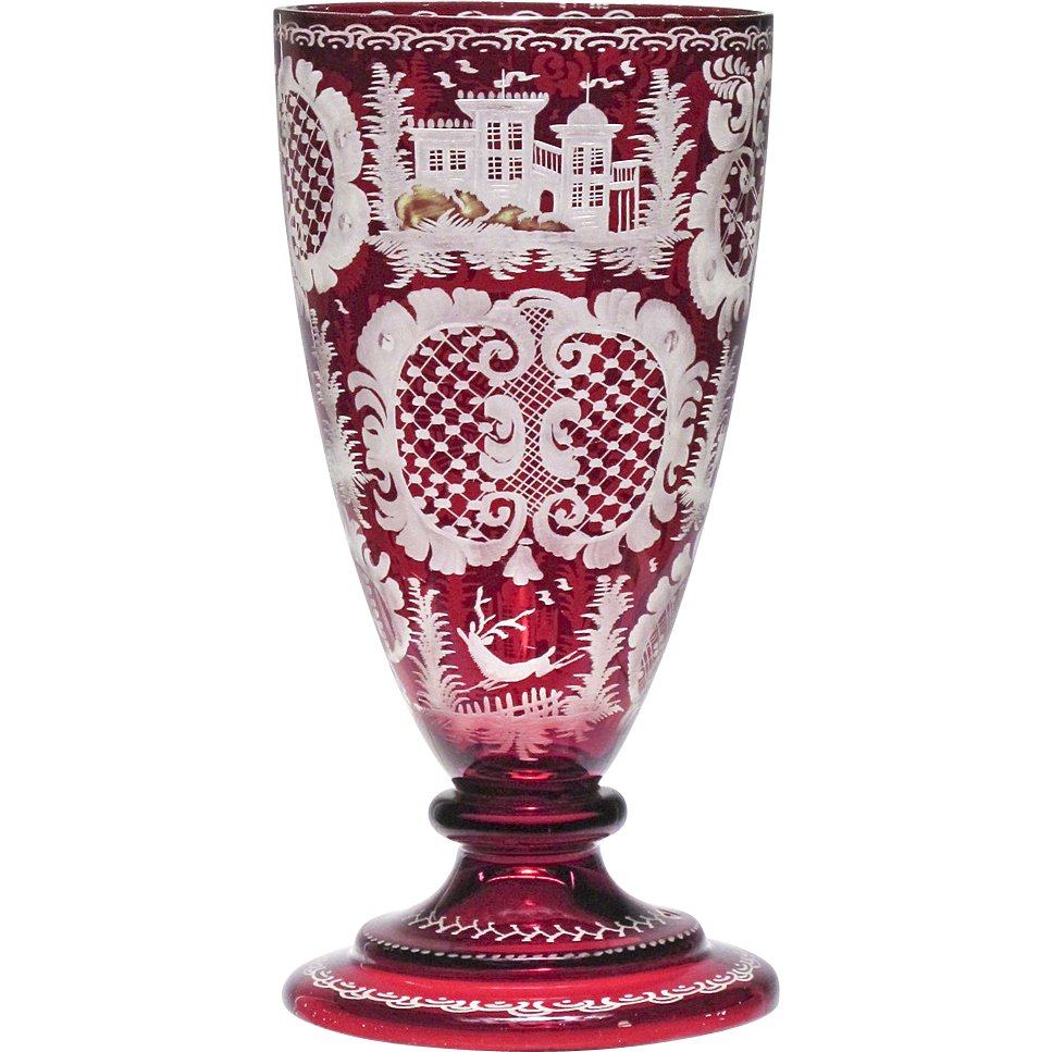 Antique Ruby Red Cut To Clear Bohemian Goblet Vase From Oh