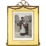 "Elaborate Antique Frame with Barbola Swags and Bow and a 19th C Hand Colored Lithograph by H J Johnstone - ""Sweet Violets"""