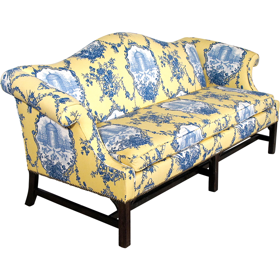 Chippendale Style Camelback Sofa New Upholstery Down