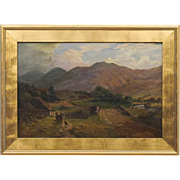 Antique Oil on Canvas - 19th C Scottish Landscape by Listed Artist James Heron