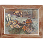 Forest Scene with Mushrooms and Fungi - Theodore Fried - Listed 20th C Hungarian Artist - Oil