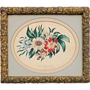 American Schoolgirl Painting by Ellen Josephine Hagen - Mid to Late 19th C - Polychrome Floral