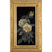 White Roses - Victorian Oil on Board in Elaborate Gilded Period Frame