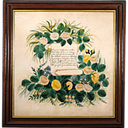Large 19th C Folk Art Painting with Poem to Mother in Period Walnut and Lemon Gold Frame - Ame