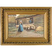 Antique Painting by American Artist Thomas Raphael Congdon - 'Herding Sheep'