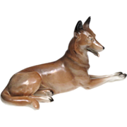 Porcelain Belgian Malinois Dog Figurine - German, V.E.B. Unterweißbacher Werkstätten für Po