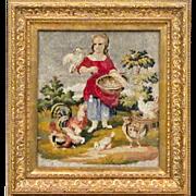Antique Victorian Beaded Embroidery of a Girl Feeding Chickens - Berlin Work - Berlinwork - Ne