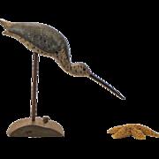 Traditional Shorebird Carving Signed Stevens - Shore Bird Carving - Folk Art - Primitives
