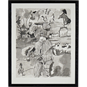 Surreal Pen and Ink Wash Drawing - Signed