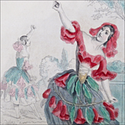 Antique Steel Engraving 'Pom-Granate' from Grandville's 'Les Fleurs Animees' - Hand Colored wi