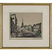 Drypoint Etching of a Street Scene with Church by Actor Edwin R. Wolfe ( 1893 - 1983 )