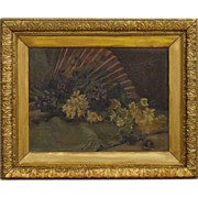 19th C Victorian Still Life Painting in Original Frame - Signed Oil on Canvas
