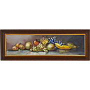 Still Life Painting of Fruit in Yard Long  Format - Antique American Pastel in Original Oak ..