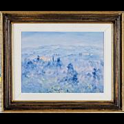Tuscan Landscape Painting by Contemporary Italian Artist, Fosco Fantone - Oil on Wood - Blue F