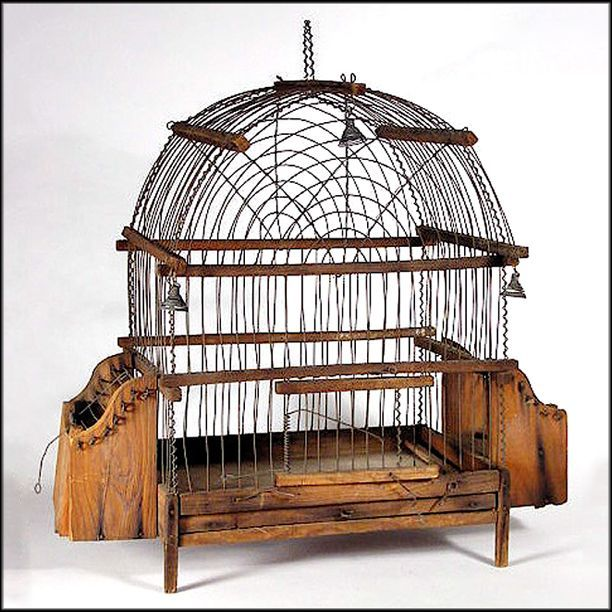 Antique American Pine & Wire Ware Bird Cage w/ Bells - Wireware - Folk Art - Americana - Naive - Primitive
