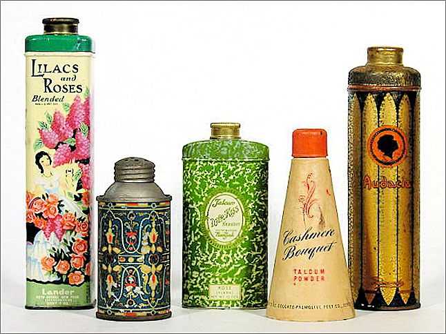 SEE THESE TINS IN COUNTRY LIVING MAGAZINE (Sept. 2010 p. 44) - Collection of Five Early Advertising Talc Tins - Advertising