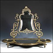 SOLD Antique Vanity Mirror - Beveled w/ Platform and Ornate Cast Bronze Frame - Mirrors