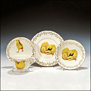 SOLD French Child's Cup, Saucer, Plate, and Bowl w/ Chick Transfer Decoration