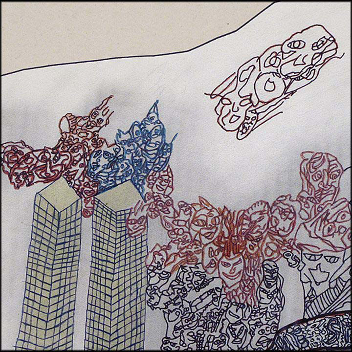 Outsider Art Drawing of World Trade Center on 9-11 by Rodger Fisher