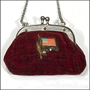SOLD Antique Velvet Doll's Purse with American Flag - Child's Toy