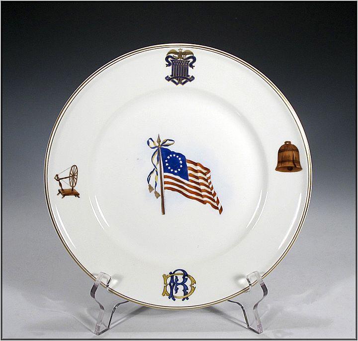 "Theodore Haviland ""Daughters of the Revolution"" American Flag Commemorative Plate - Americana"