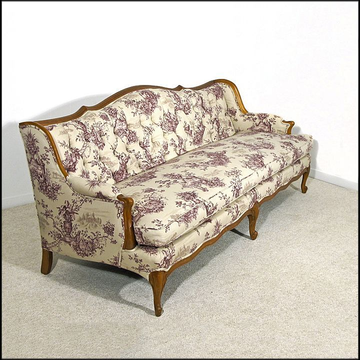French Provincial Style Tufted Sofa - Newly Upholstered