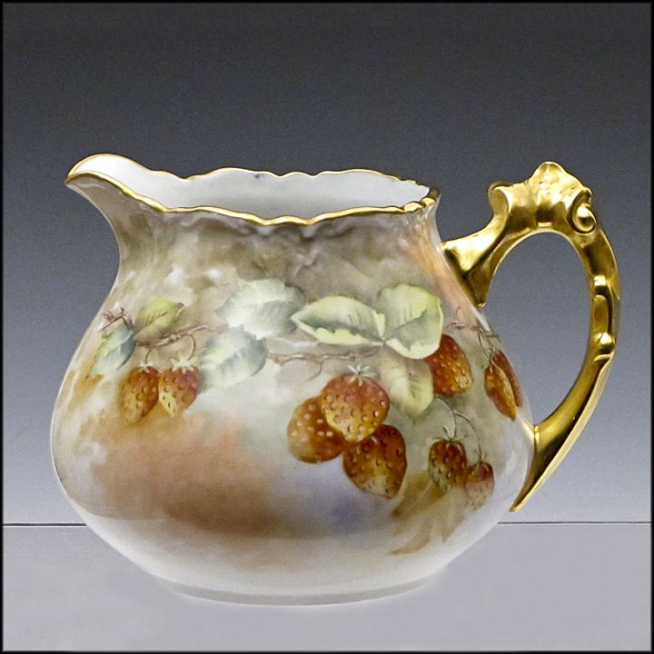 Fancy Pitcher with Signed Strawberry Painting and Gilded Handle - Hand Painted Ceramic Art for Cider or Lemonade